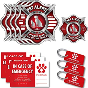 Vinyl Friend Pet Alert Stickers- FIRE Safety Alert and Rescue (5 Pack) - Save Your Pets encase of Emergency or Danger Pets in Home for Windows, Doors Sign