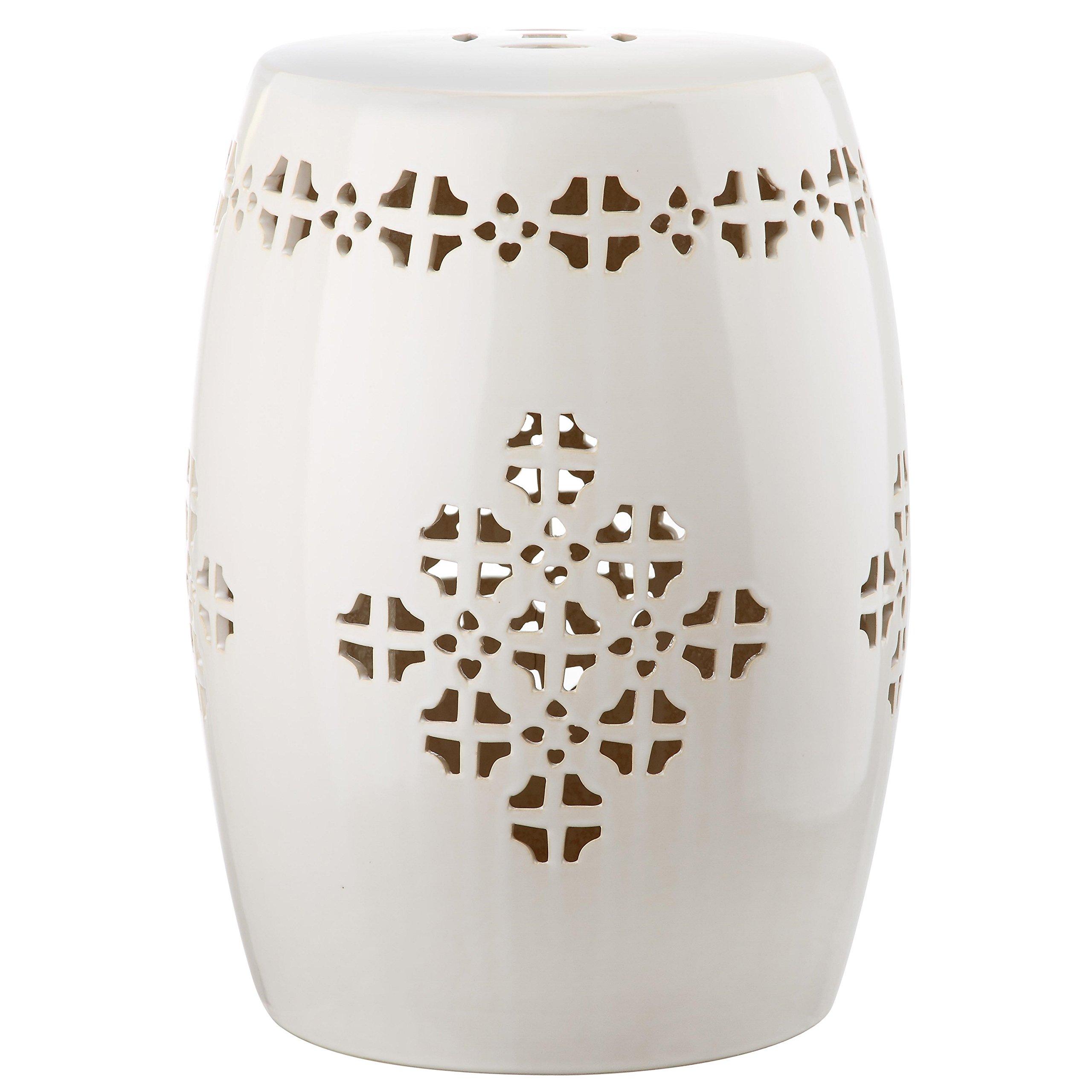 Safavieh Castle Gardens Collection Quatrefoil Cream Glazed Ceramic Garden Stool
