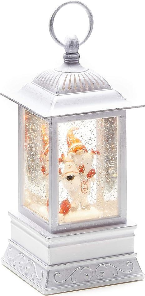 Christmas Light Up Snow Globe Lantern 10 5 Antique Gnome White Kitchen Dining