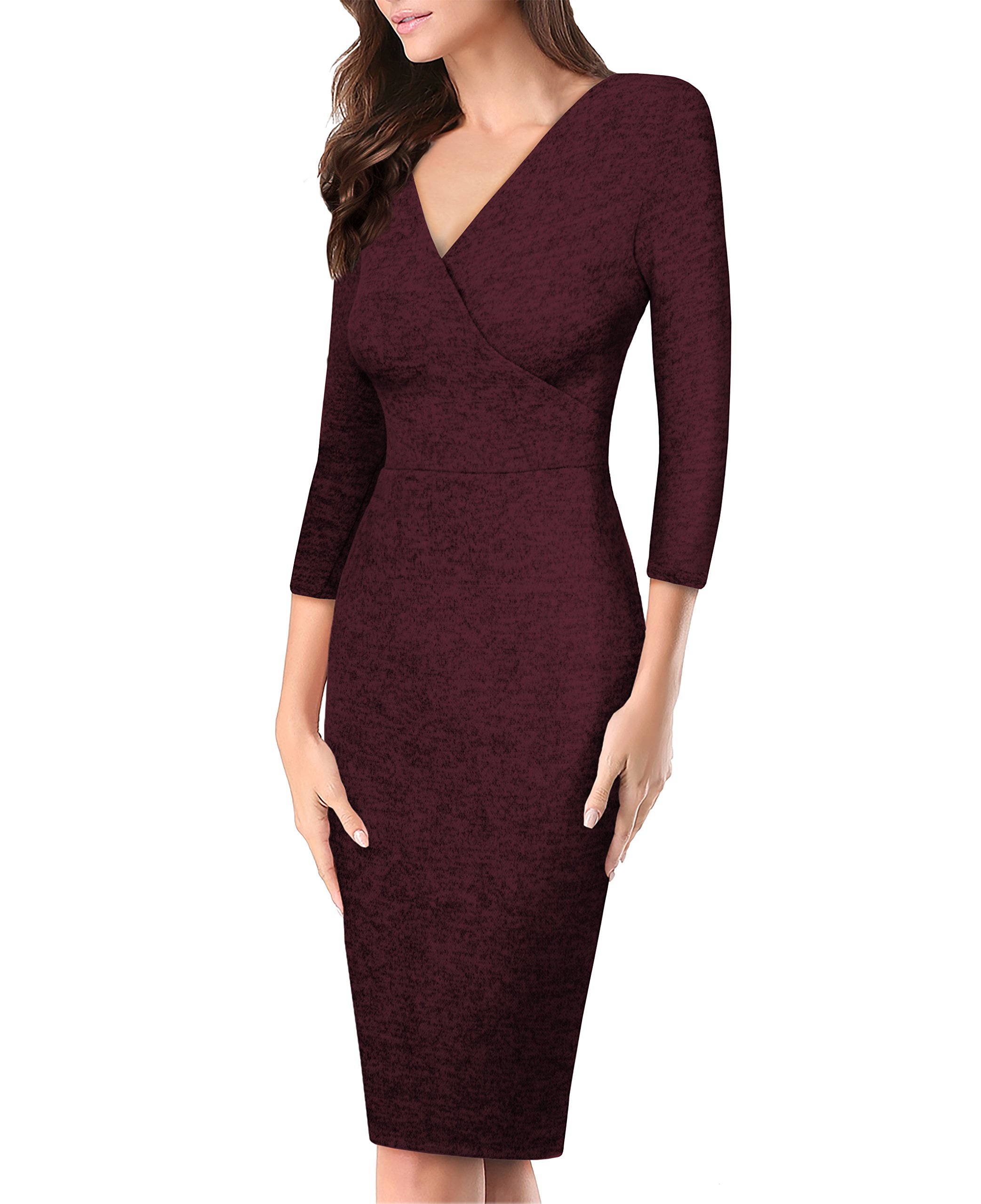 Women's Plum Cross V Neck Midi Dress KDR44322 G4000 Burgundy XLarge