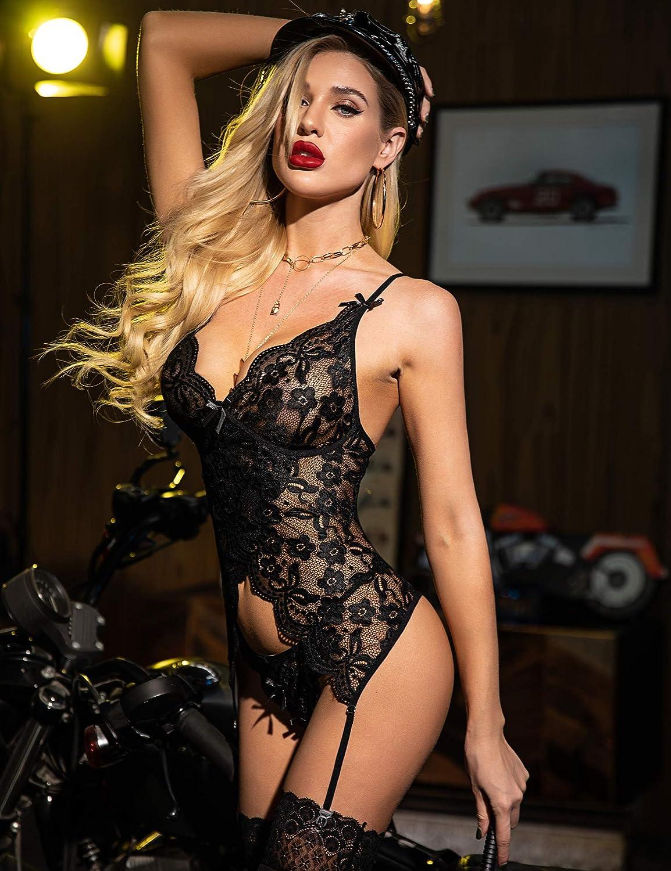 wearella Women Lingerie Set Lace Teddy Babydoll Bodysuit Chemise Nightwear with Garter Belt S-4XL