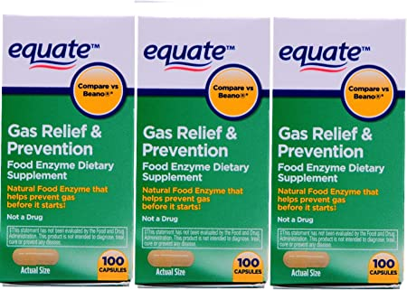 Equate Gas Bloating Relief and Prevention, Food Enzyme Dietary Supplement, 300 Count