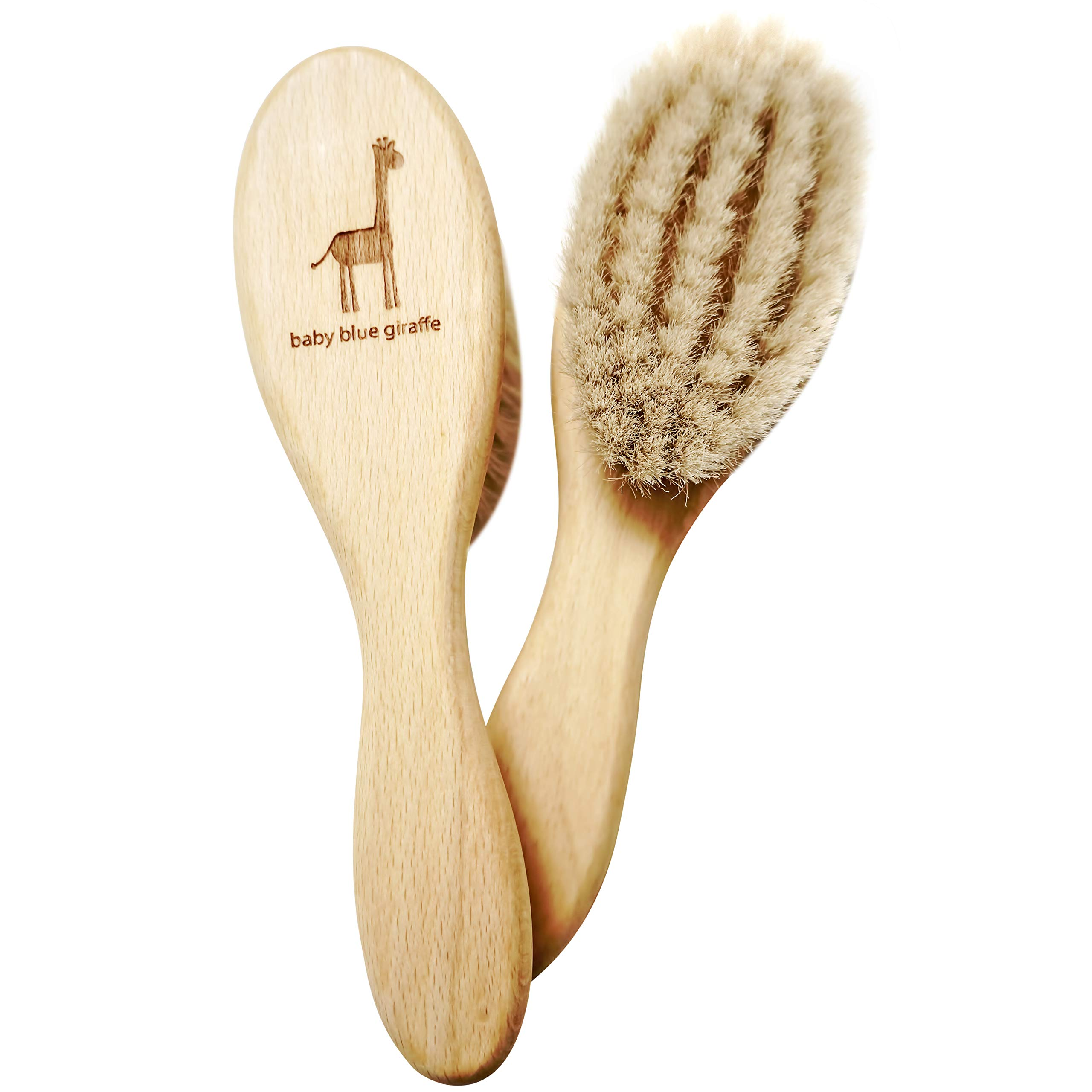 Super Soft Baby Hair Brush by baby blue giraffe: 100% Made in Germany from All Natural Beech Wood and Goat Hair by baby blue giraffe