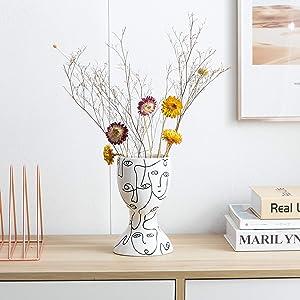 Kimdio Ceramic Flower Vase Irregular face Design Decorative Head Flower Vase for Home Decor Living Room, Home, Office, Centerpiece,Table and Wedding
