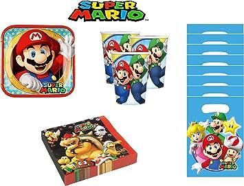 Super Mario cumpleaños - Kit de cumpleaños 8 Personas: Amazon.es: Juguetes y juegos