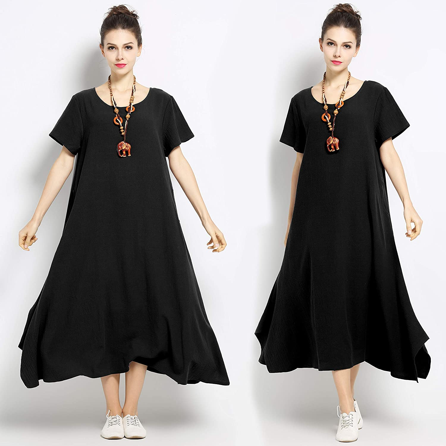 a1d342cb3bf67 Anysize Linen Cotton Soft Loose Spring Summer Dress Plus Size Clothing  F126A at Amazon Women s Clothing store