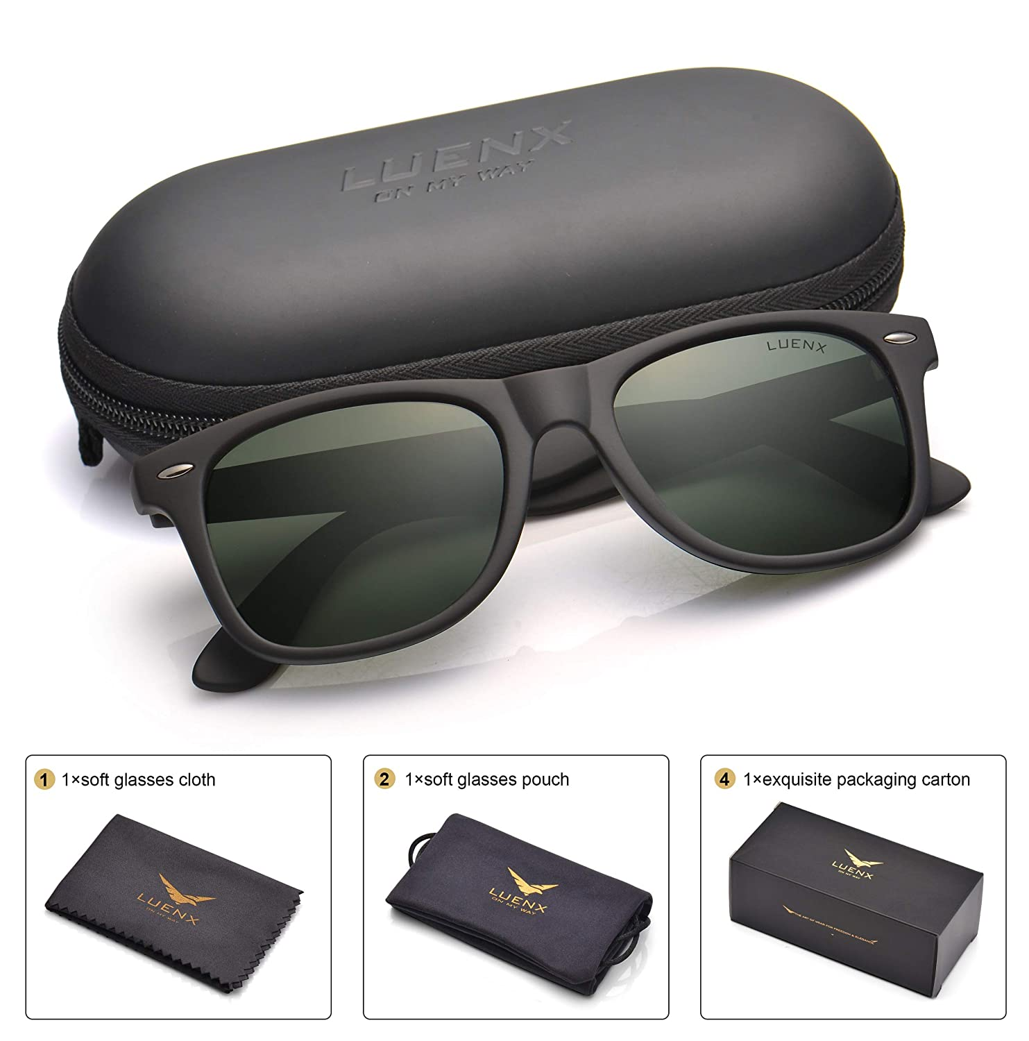 93155214bf73 Mens Polarized Sunglasses for Womens UV 400 Protection Grey Green Lens  Matte Black Frame 54MM  Amazon.ca  Sports   Outdoors
