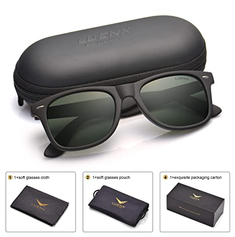 932d7616551 Mens Polarized Sunglasses for Womens UV 400 Protection Grey Green Lens  Matte Black Frame 54MM  Amazon.ca  Sports   Outdoors
