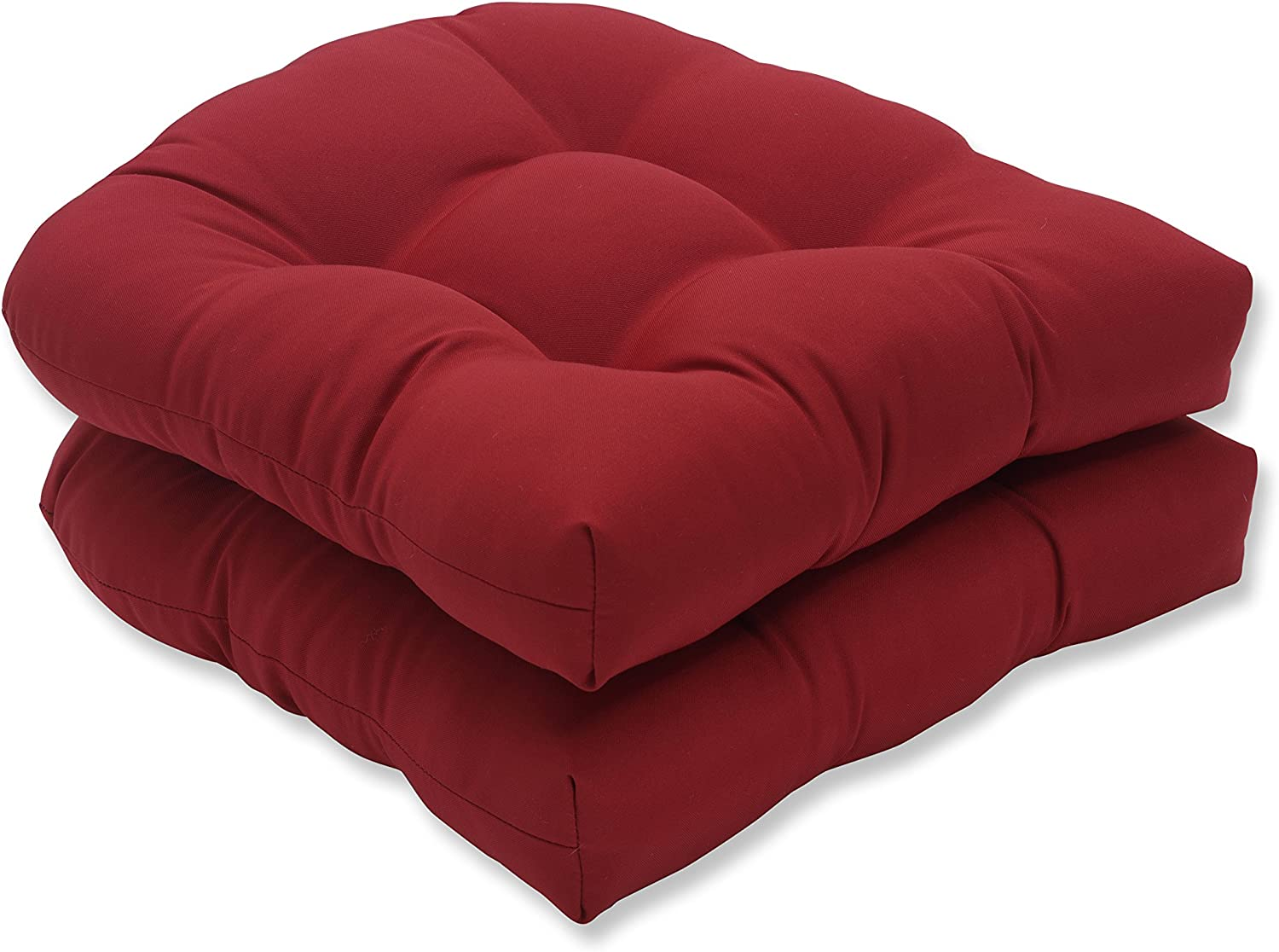 Pillow Perfect Pompeii Red (Set of 2) Wicker Seat Cushions, Solid