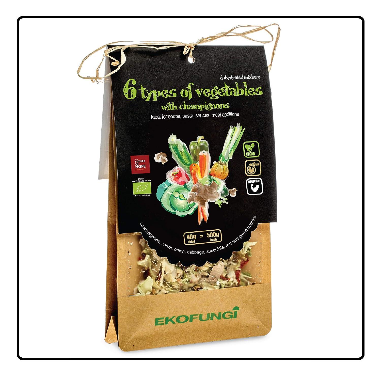 Ekofungi Premium Mix Dehydrated Mushrooms and 6 Type of Veggies 100% Organic Certified Air Dried Super Foods Non-GMO Vegan Friendly Gluten Free Antioxidant Raw Wholefood Dietary Supplement.