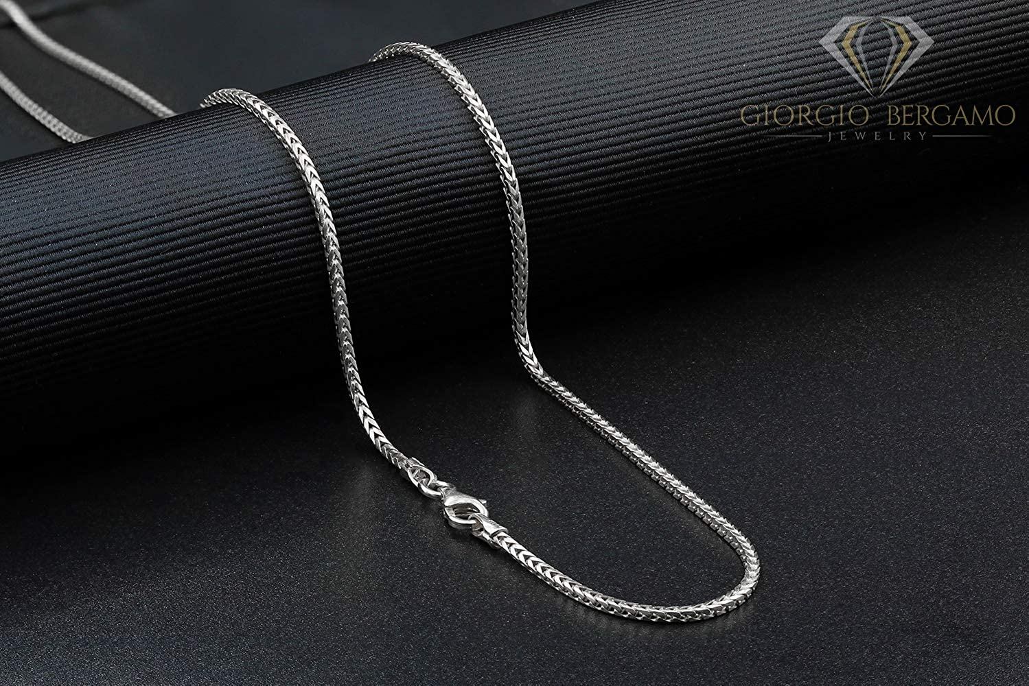 925 Sterling Silver Nickel-Free 2.5mm Popcorn Chain Necklace Made in Italy Bonus Polishing Cloth