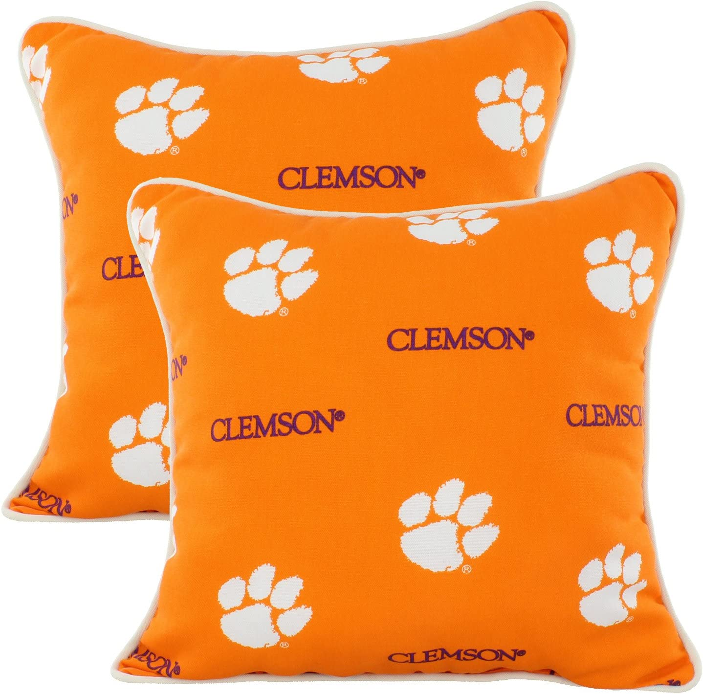 College Covers Clemson Tigers Outdoor Decorative Throw Pillow 16 X 16 Home Kitchen