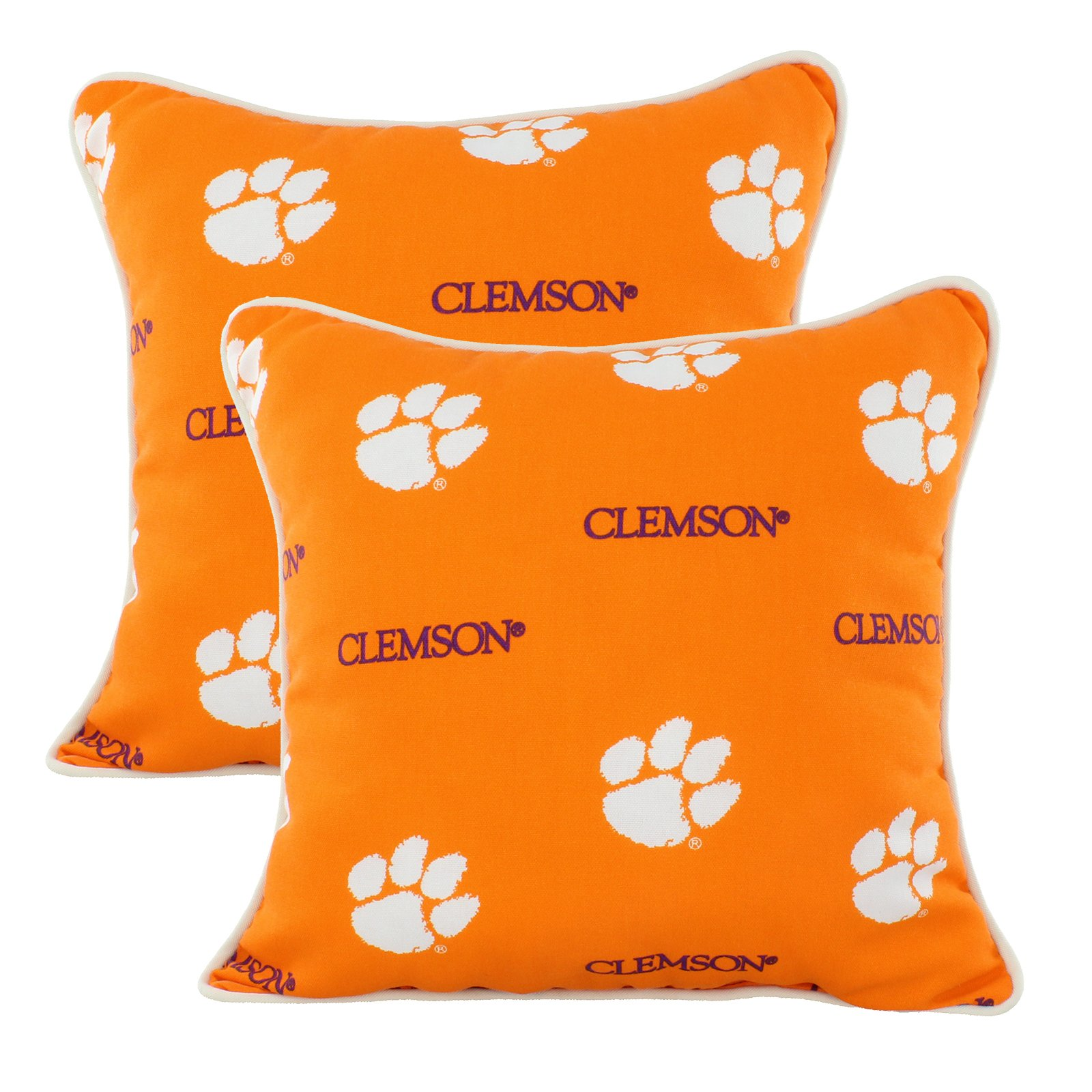 College Covers CLEODPPR Clemson Tigers Outdoor Decorative Pillow Pair, 16'' x 16'', Orange