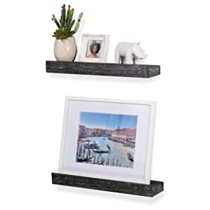 Rustic State Smith Wall Mount Narrow Picture Ledge Shelf Display | 16.75 Inch Floating Wooden Shelves Distressed Black Set of 2