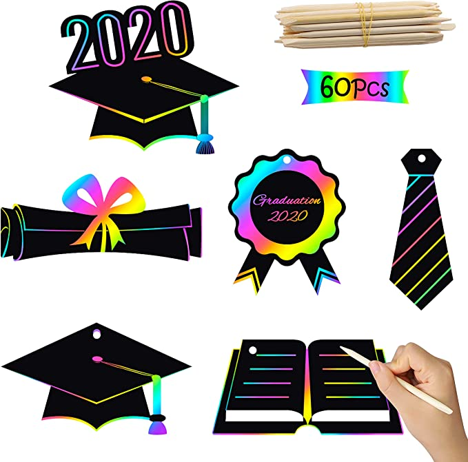 Nucifer 63PCS Scratch Paper Art Set for Kids Rainbow Scratch Paper with Wooden Stylus Magic Art Paper DIY Scratch Off Art and Crafts for Kids Boys Girls Drawing Art Supplies Party Favors Party Game
