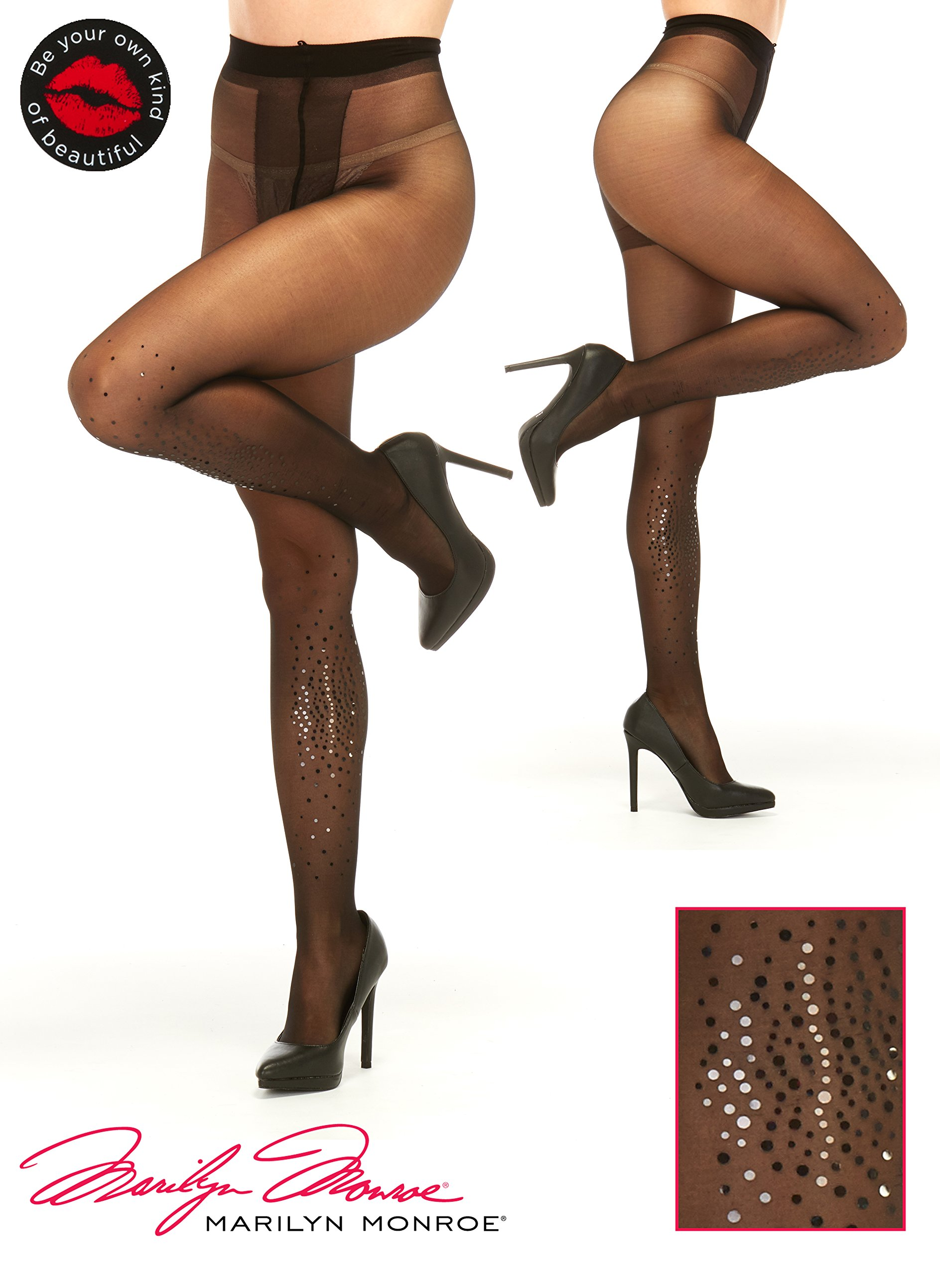 Marilyn Monroe Women Fashion Sheer Pantyhose Tights Stockings With Black Rhinestones size C Black