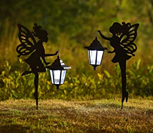 CHUANGFENG Metal Fairy Solar Light Outdoor Decoration Metal Fairy Garden Stake Solar Stake Light for Lawn,Patio or Courtyard 20 1/2 inches Height 2pack