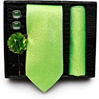 Axlon Cotton Silk Necktie Pocket Square Set with Lapel Pin and Cufflinks - (Green, Free Size)
