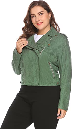 IN'VOLAND Women's Plus Size Turn Down Collar Zip Up Solid Faux Suede Cropped Casual Jacket
