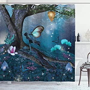 """Lunarable Fantasy Shower Curtain, Enchanted Forest with Blooming Flowers Mystical Environment Woods Illustration, Cloth Fabric Bathroom Decor Set with Hooks, 70"""" Long, Dark Blue"""