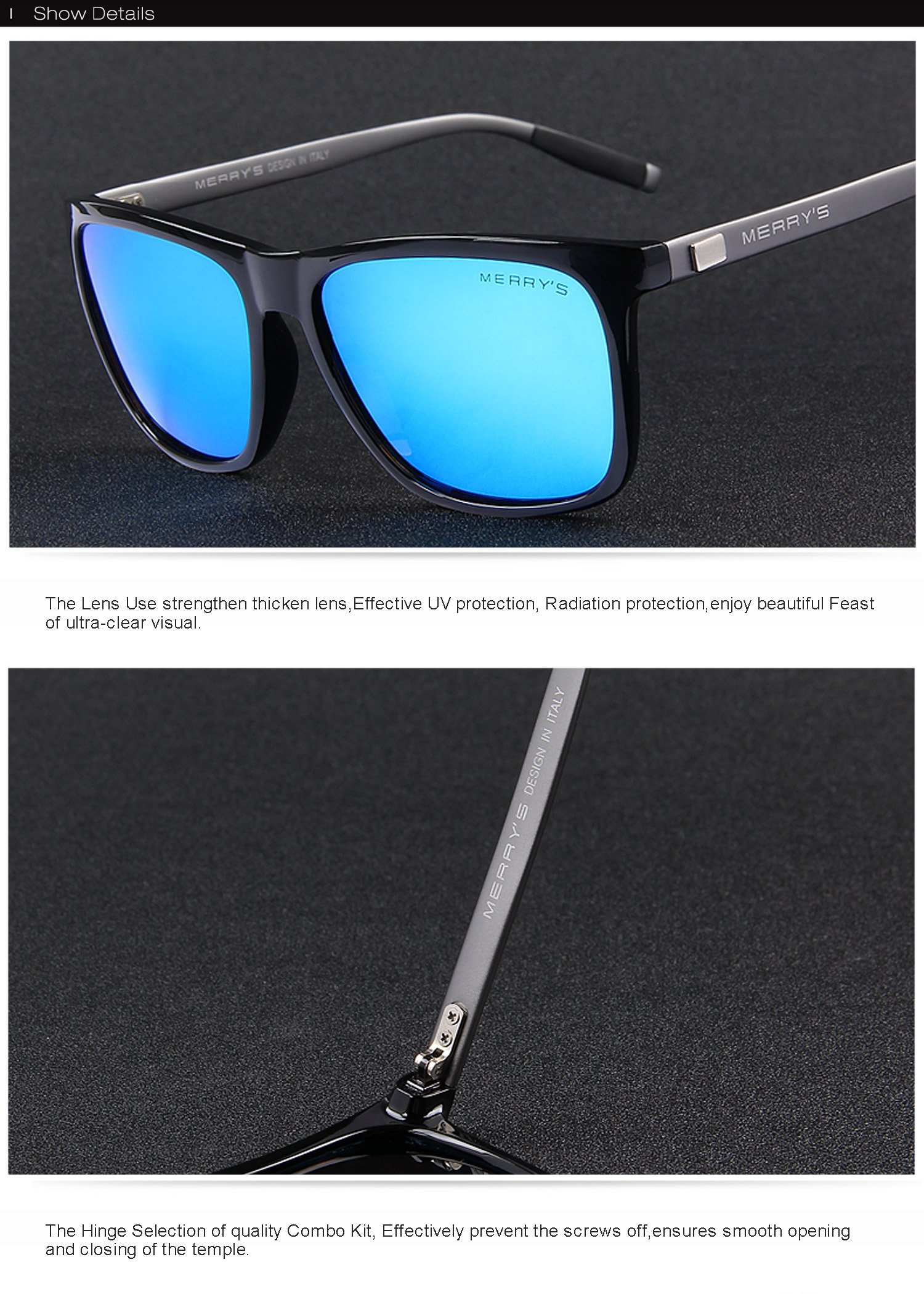 MERRY'S Unisex Polarized Aluminum Sunglasses Vintage Sun Glasses For Men/Women S8286 (Blue, 56) by MERRY'S (Image #7)