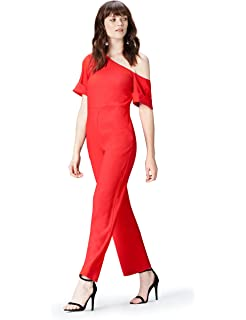 Damen Rot Lois Jumpsuit Mit Bardot-ausschnitt Und Goldapplikation ... 0b70cada01