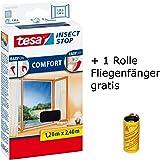 tesa Insect Stop Comfort Fliegengitter für Fenster/Insektenschutz mit Selbstklebendem Klettband/Anthrazit + 1 Fliegenfänger Gratis