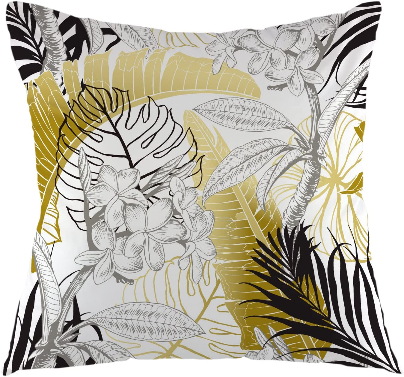 "oFloral Tropical Monstera Throw Pillow Cover with Palm Tree Leaves Pillow Case Square Cushion Cover for Sofa Couch Home Car Bedroom Living Room Decorative 18"" x 18"" Yellow Black White"