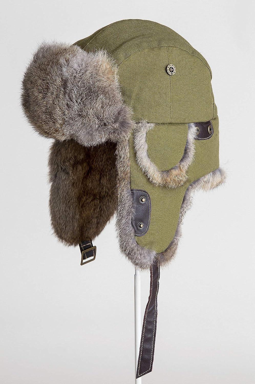 Amazon.com  Canvas Trapper Hat with Rabbit Fur Trim  Clothing a583da6c908e