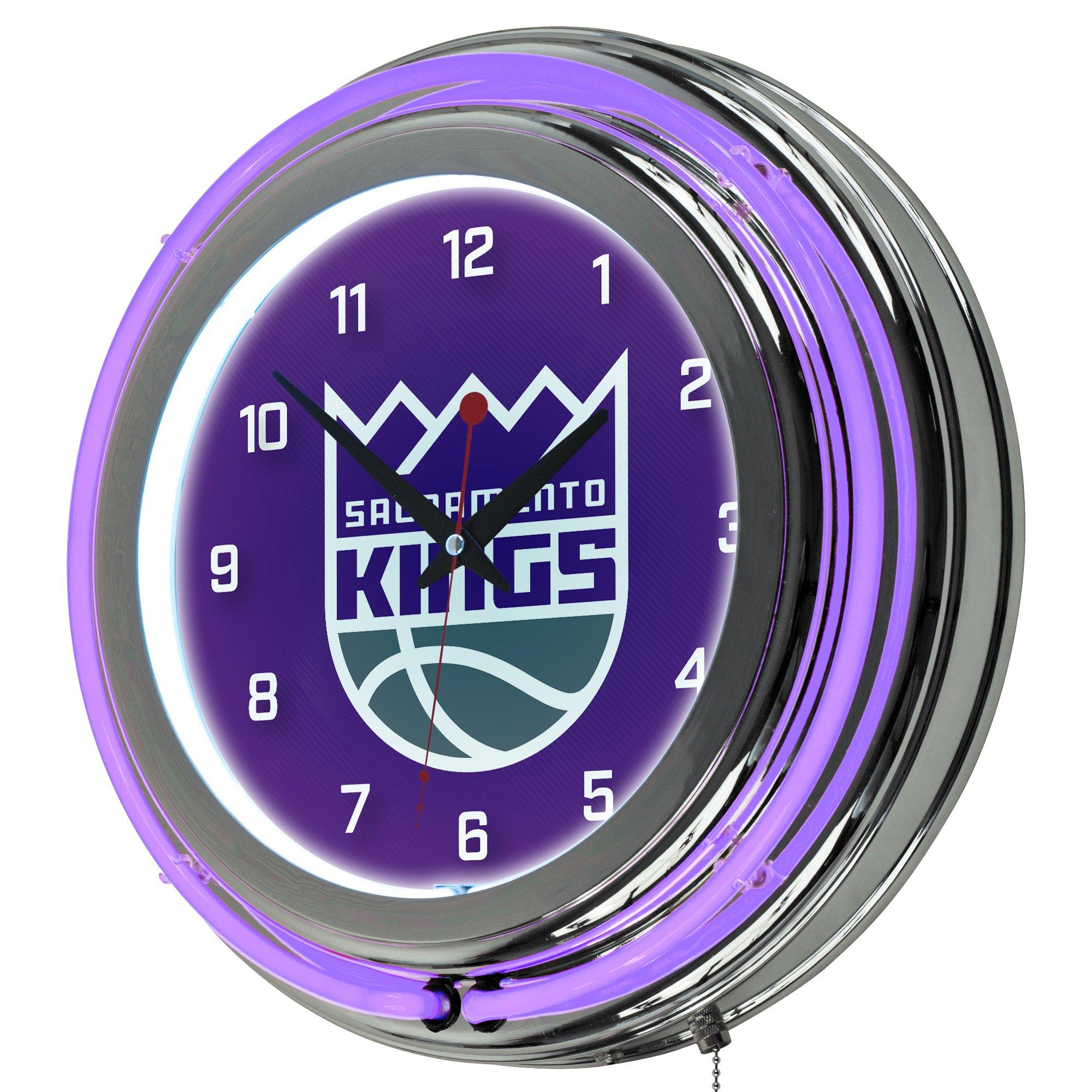NBA Sacramento Kings Chrome Double Ring Neon Clock, 14''