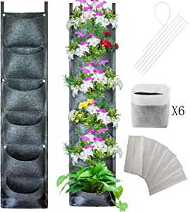 Bouqlife Vertical Wall Garden Planter 6 Pockets Hanging Plant Herb Bags Pouch for Indoor Outdoor Fence Yard Planting Decor