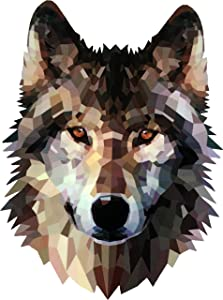 Papapatch Wolf Fox Head Face Animal Wild DIY Window Laptop Wall Decor Decal Vinyl Sticker (PS-STK-WOLF-HEAD-3D)