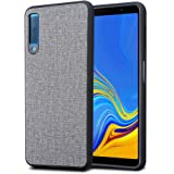 Kit Me Out World Fabric Series Case Designed for Samsung Galaxy A7 (2018), Hard (PC) Back Covered in Fabric Cloth, Black Flexible TPU Bumper Protection Shockproof Case Cover (Gray)