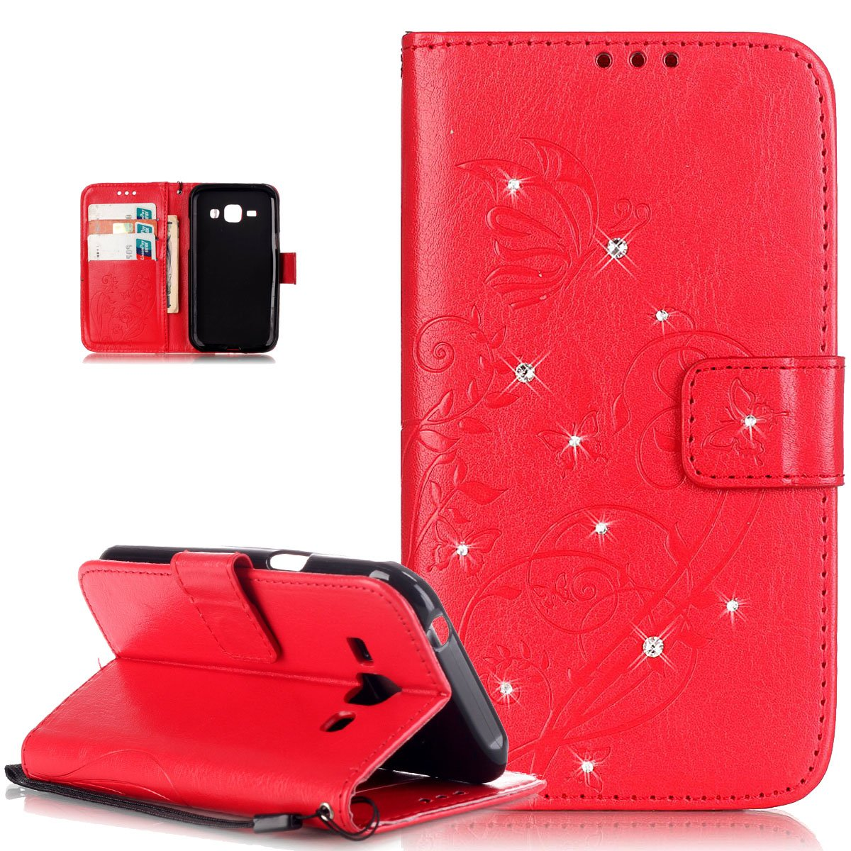 Galaxy J1 Case,Galaxy J1 Cover,ikasus Rhinestone Bing Glitter Diamond Embossing Flower Vines Butterflies Flip Premium PU Leather Fold Wallet Pouch Case Wallet Flip Cover Bookstyle Magnetic Closure with Card Slots & Stand Function Protective Case Cover