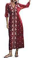 R.Vivimos Women Boho Floral Embroidered Casual Drawstring Tie Cotton Long Dresses