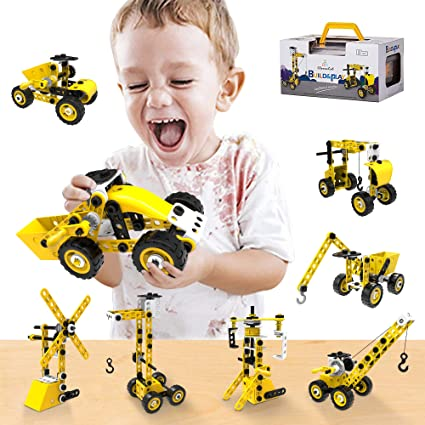 Amazon Com Barchrons Stem Building Toys Kit For Age 5 6 7 8 9 10 Year Old Boys Girls 86 Piece 5 In 1 Diy Learning Construction Toy Best Educational Kids Toys Mechanical Engineering Set Gifts Toys Games