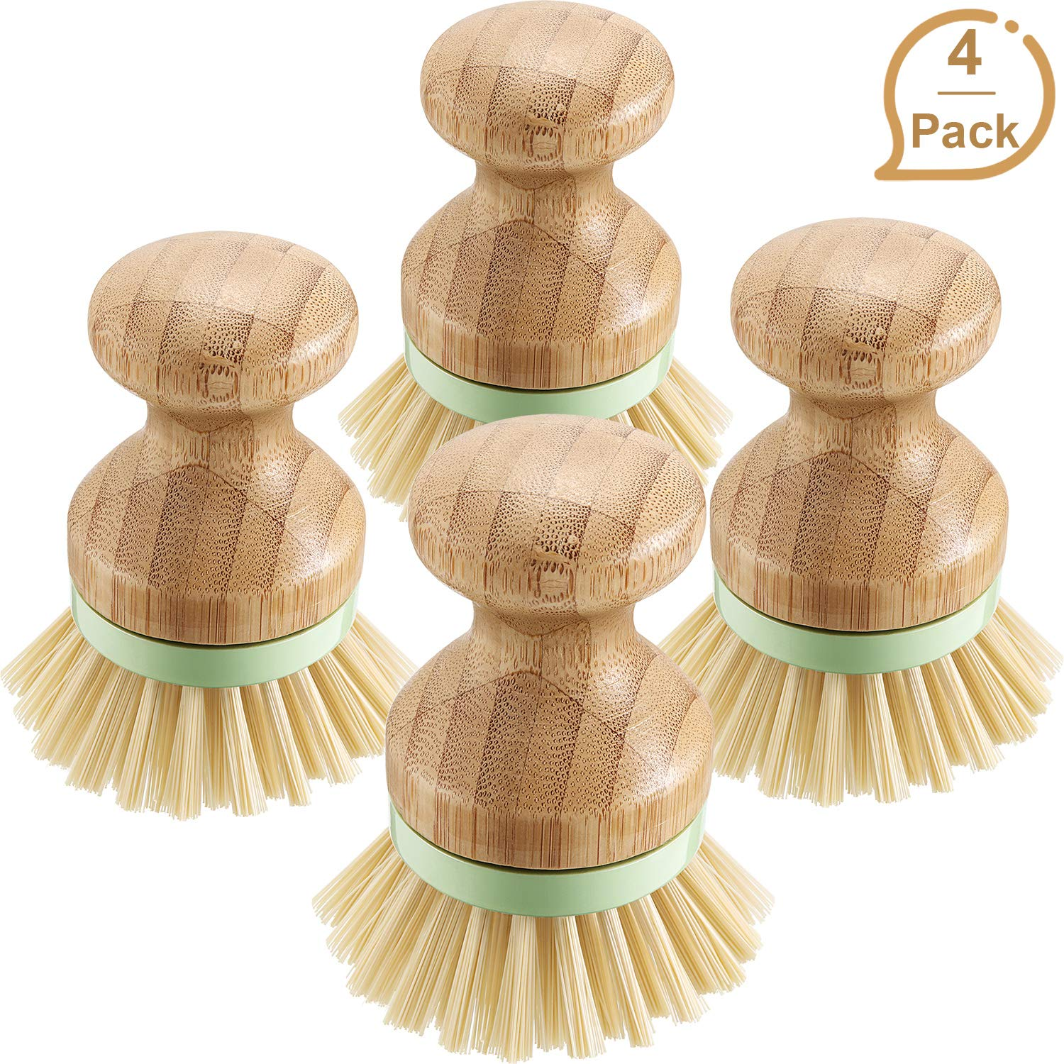 4 Pieces Bamboo Mini Scrub Brush Coconut Bristles Pot Brushes Dish Scrubber for Cast Iron Skillet, Kitchen Sink, Bathroom, Household Cleaning (Style A)