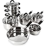 Tower Essentials Pan Set with Silicone Handles, Stainless Steel, 8-Piece