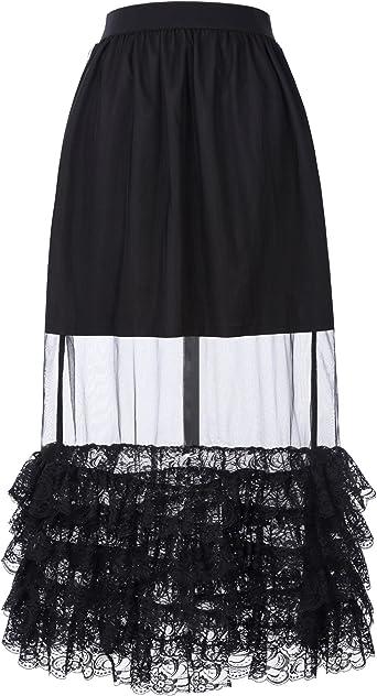 Belle Poque Falda de Cintura Alta con Cintura elástica y Falda de ...