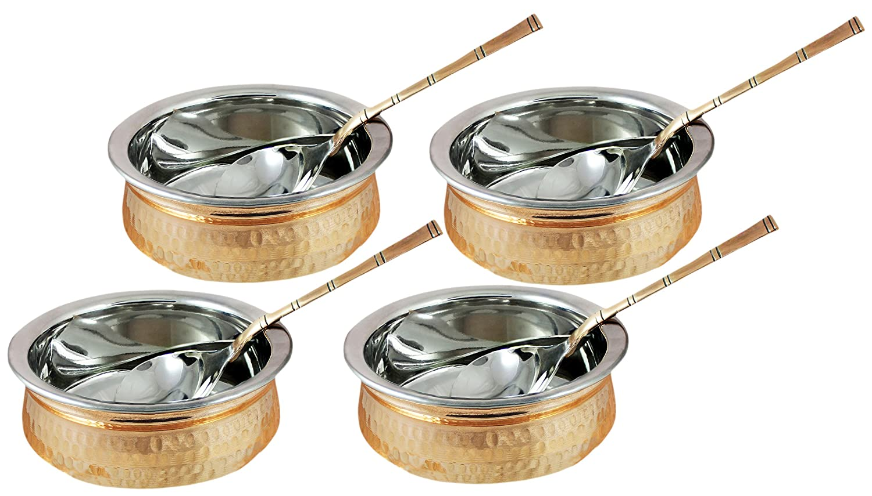 Tazones de fuente de acero inoxidable de cobre de 1000 ml con la cuchara usada como cuenco de cereal, cuenco de arroz, cuenco de fideos, conjunto de 4, ...