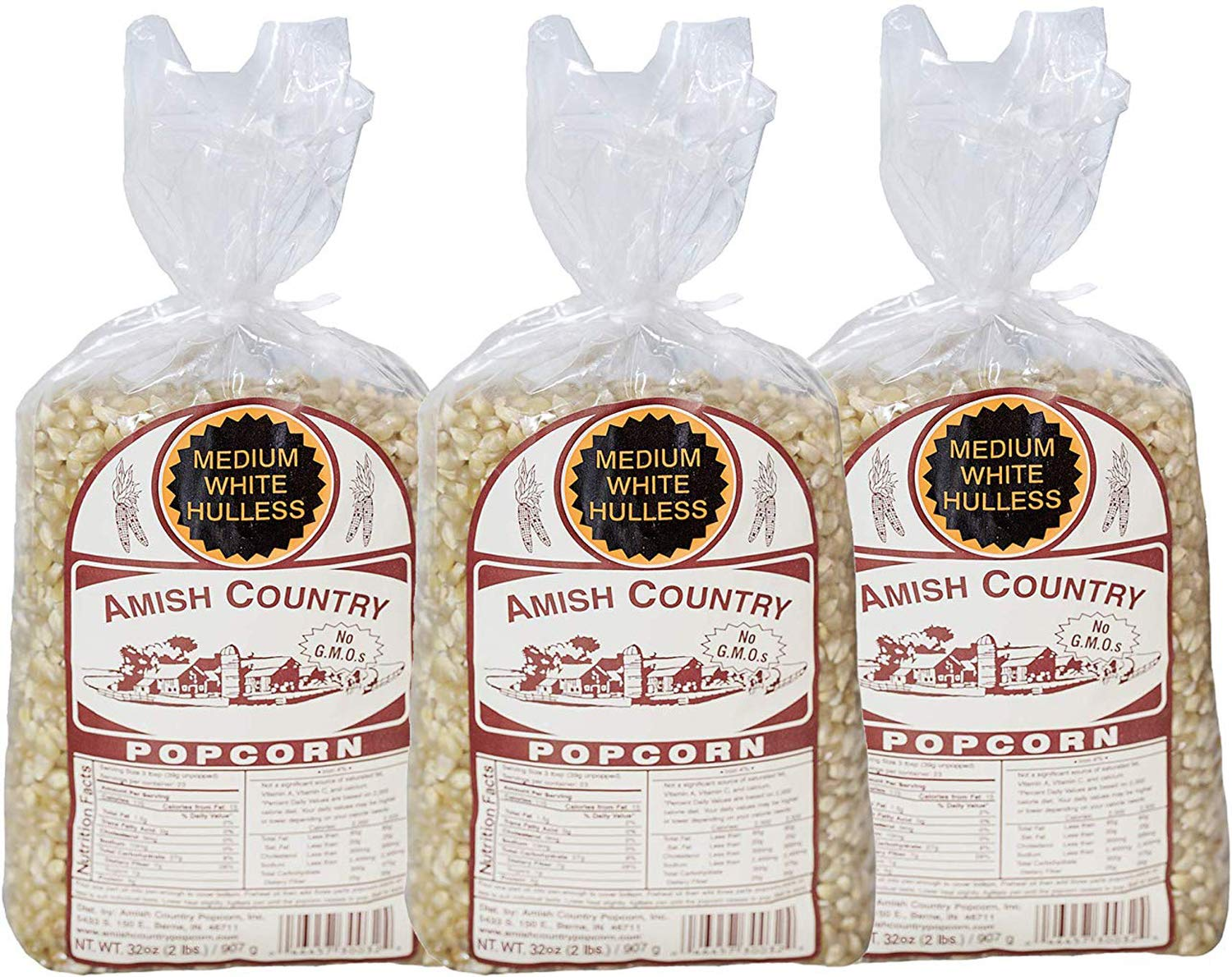 Amish Country Popcorn - 3 (2 Pound Bags) Medium White Kernels Gift Set Old Fashioned, Non GMO and Gluten Free - With Recipe Guide by Amish Country Popcorn