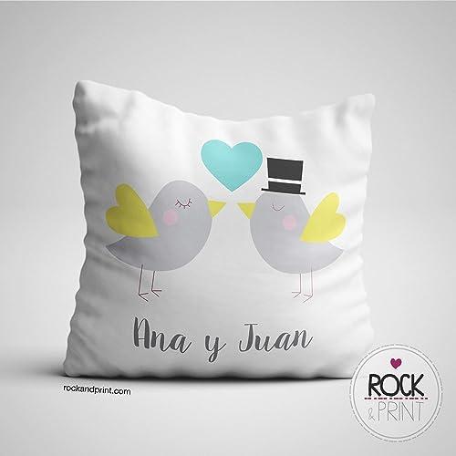 Regalo San Valentín Cojín pareja pollitos personalizado, elige el color. 40x40cm incluye relleno. Regalo novios navidad, cumpleaños, aniversario. ...