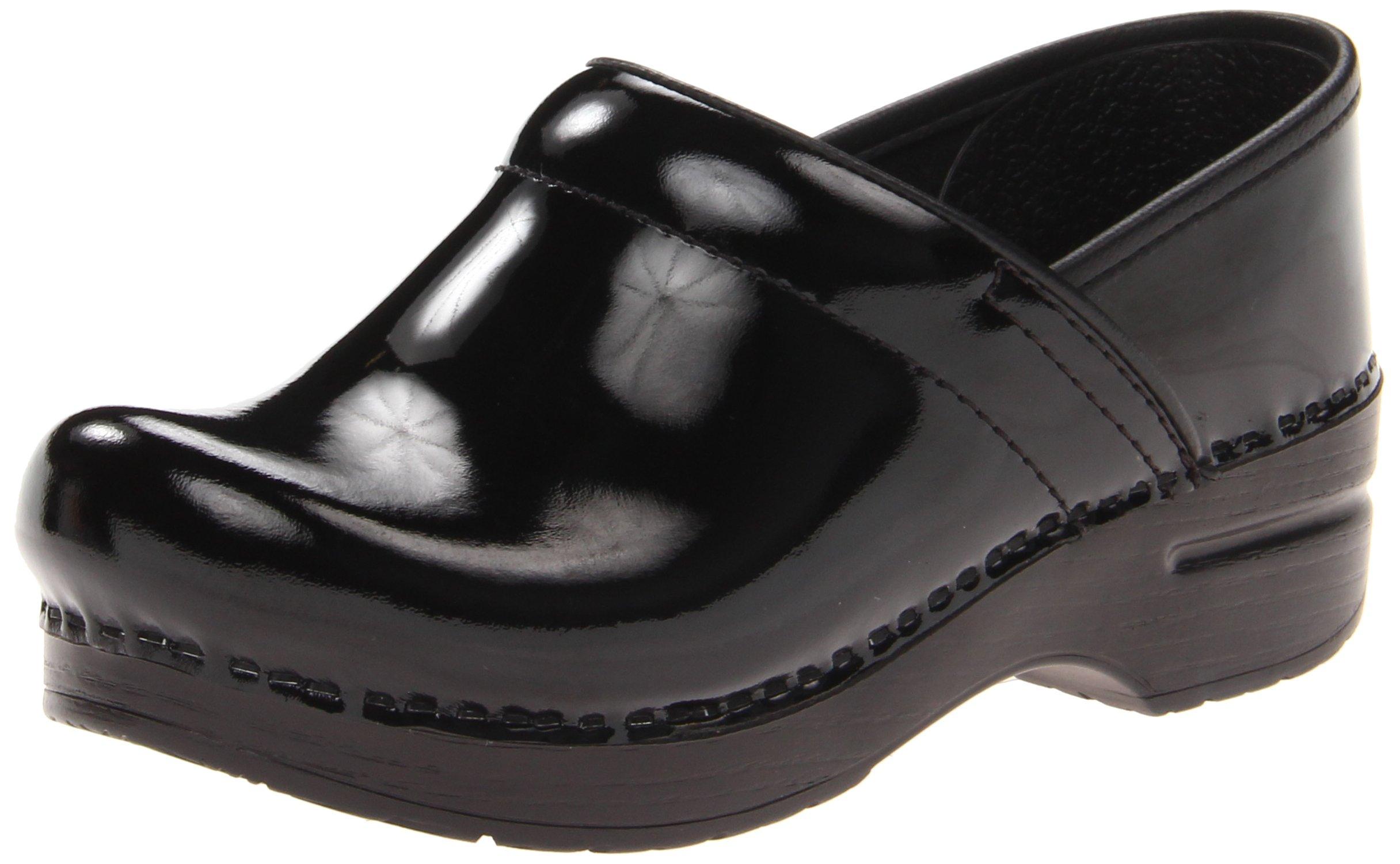 Dansko Women's Wide Pro Clog,Black Patent,37 EU/7 W US