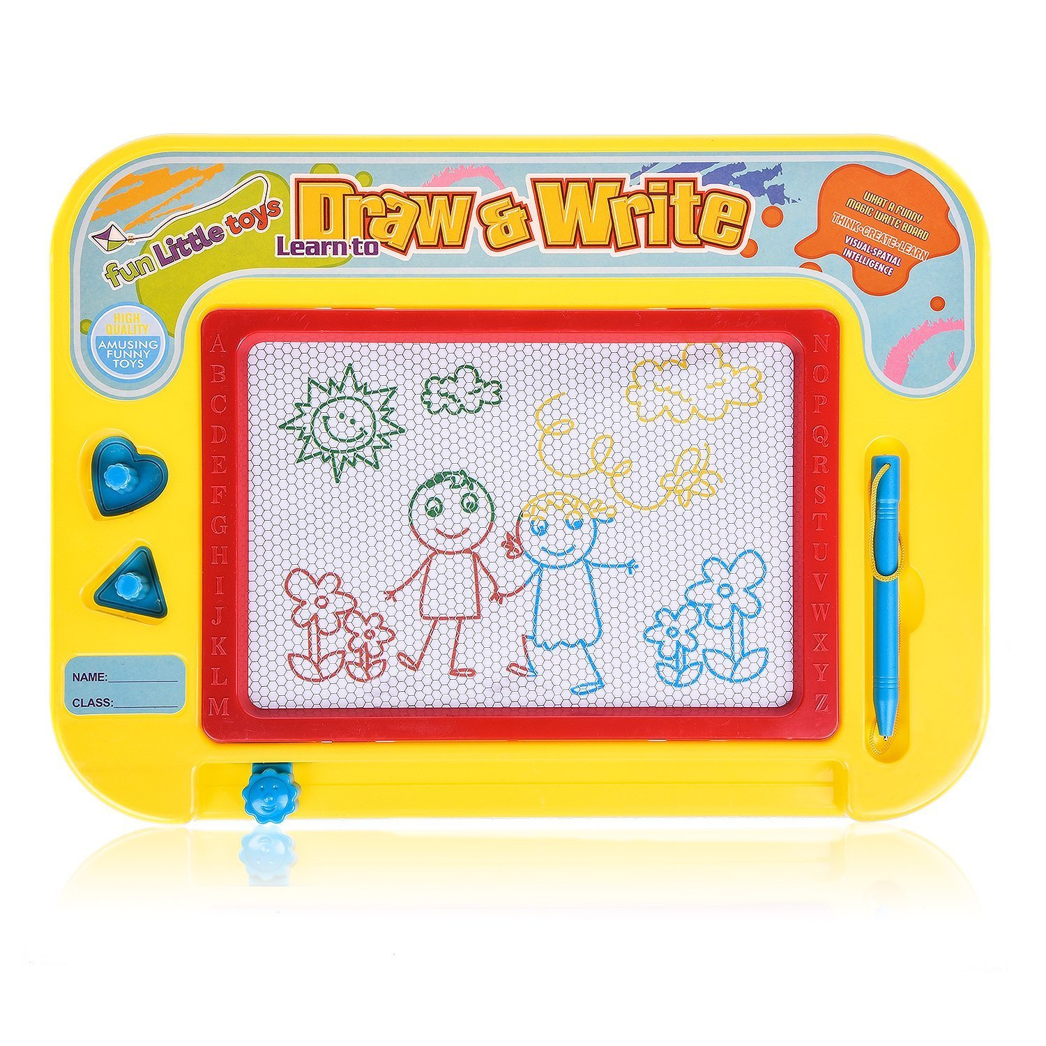 Fun Little Toys Magnetic Drawing Board, Magna Colorful Drawing Board, Erasable Doodle Board for Education and Learning, Sketch Writing Board for Toddler (Travel Size)