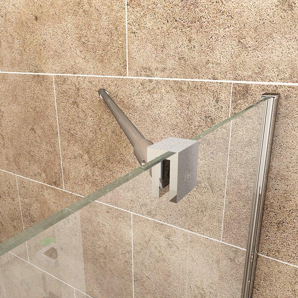 Mampara de cristal para ducha, diseño sin marco, giratoria, 700x1850mm: Amazon.es: Hogar