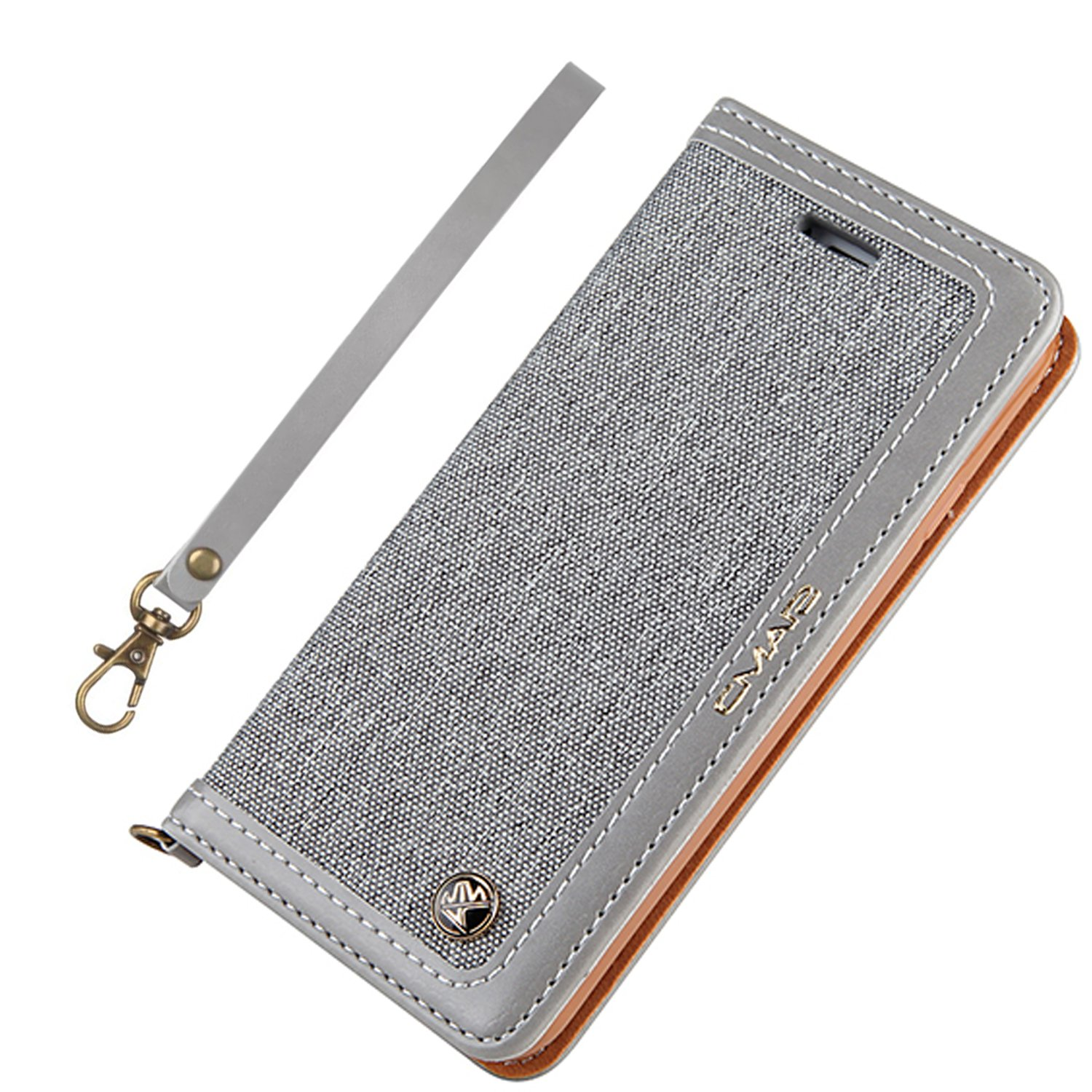 iPhone 6S Case iphone 6 Case Canvas Wallet Slim Fit Folio Book Cover Flip Wallet Case With [Business Card Holder] for iPhone 6s / 6 (6/6s 4.7inch, Grey1)