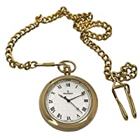 Peugeot Men's 14Kt Gold Plated Vintage Pocket Watch with Chain, 40mm Open Face, Engravable with Easy to Read Roman Numbers