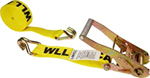 US Cargo Control 2 Inch x 27 Foot Yellow Ratchet Tie Down Strap with Double Wire J-Hooks