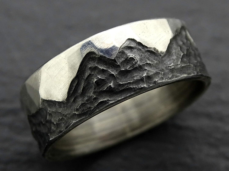 Amazon Com Rustic Mountain Ring Silver Boho Wedding Ring Mens