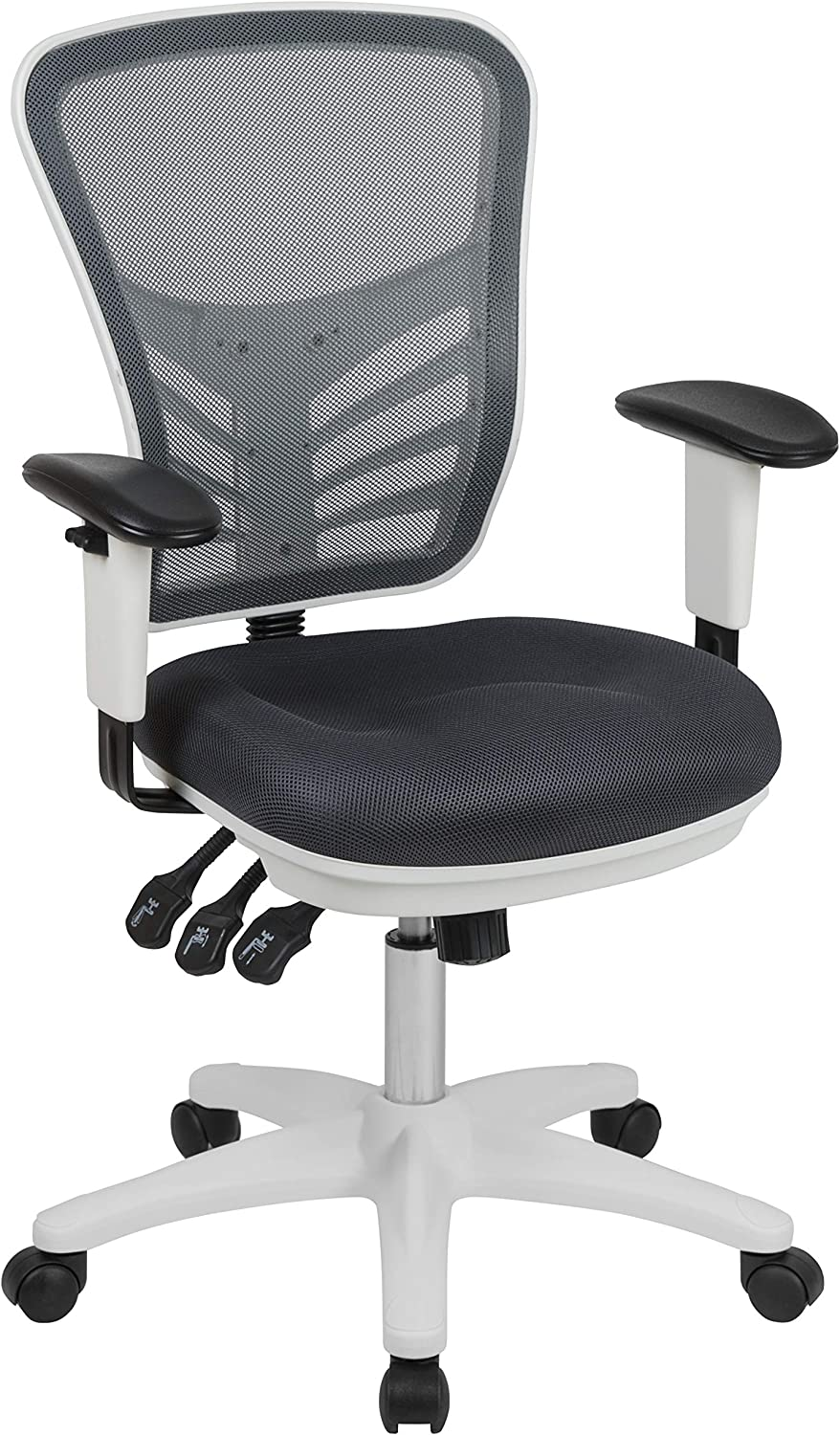 Flash Furniture Mid-Back Dark Gray Mesh Multifunction Executive Swivel Ergonomic Office Chair with Adjustable Arms and White Frame